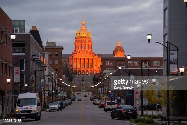 The State Capital of Iowa reflects the sunset on November 6 2018 in Des Moines Iowa Democratic challenger Fred Hubbell and Republican incumbent Gov...