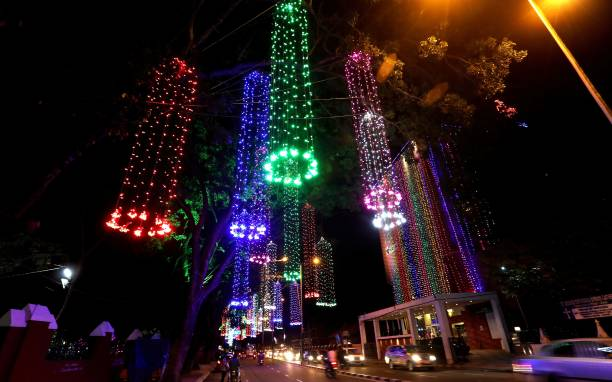 The state capital Thiruvananthpuram is decked up with colourful lights on the occasion of Onam festival on September 3 2017 in Kerala India Onam is...