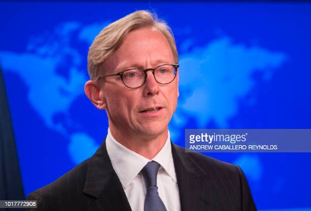The State Department's director of policy planning and head of the Iran Action Group Brian Hook speaks about the 'Iran Action Group' during a press...