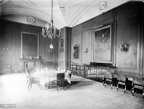 The State Dining Room at 10 Downing Street, London, circa 1875. Designed by Sir John Soane, it was completed in 1826.