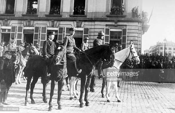 The State Entry of the King and Queen of Belgium and their children into Brussels following the cessation of hostilites at the conclusion of World...