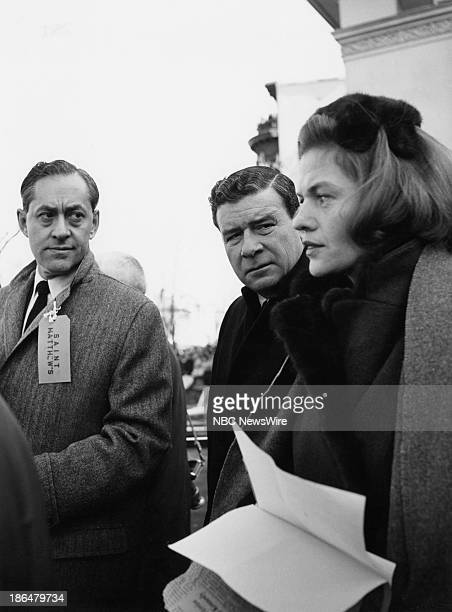 """The State Funeral of President John F. Kennedy"""" -- Pictured: NBC News' Elie Abel, Frank Blair, Nancy Dickerson reporting on the state funeral of..."""