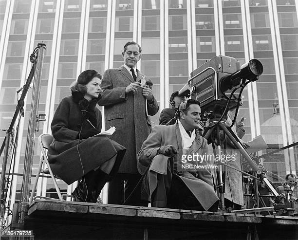 """The State Funeral of President John F. Kennedy"""" -- Pictured: NBC News' Nancy Dickerson, Elie Abel, unknown reporting on the state funeral of..."""