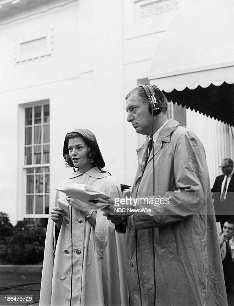 """The State Funeral of President John F. Kennedy"""" -- Pictured: NBC News' Nancy Dickerson, Ray Scherer reporting from the White House during the state..."""