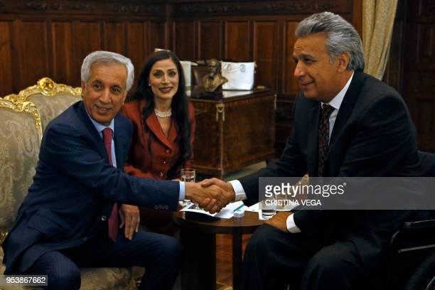 The State Minister for Foreign Affairs of Qatar Sultan bin Saad AlMuraikhi and Ecuadoran President Lenin Moreno meet at the Carondelet presidential...