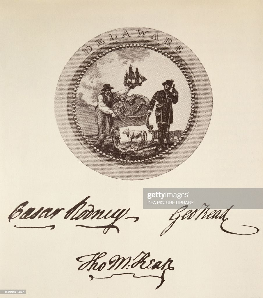 Signatures on American Declaration of Independence : News Photo