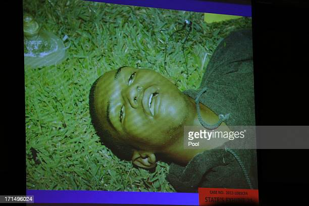 The State of Florida shows photos of Trayvon Martin from the night of the shooting as evidence during George Zimmerman's trial in Seminole circuit...