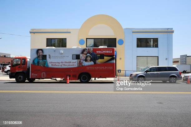 The State of Maryland's Wellmobile is parked outside CASA de Maryland's Wheaton Welcome Center during a mobile coronavirus vaccination clinin on May...