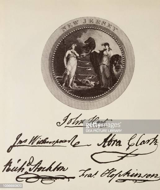The State of New Jersey's seal and signatures on the American Declaration of Independence July 4 United States of America American Revolutionary War...