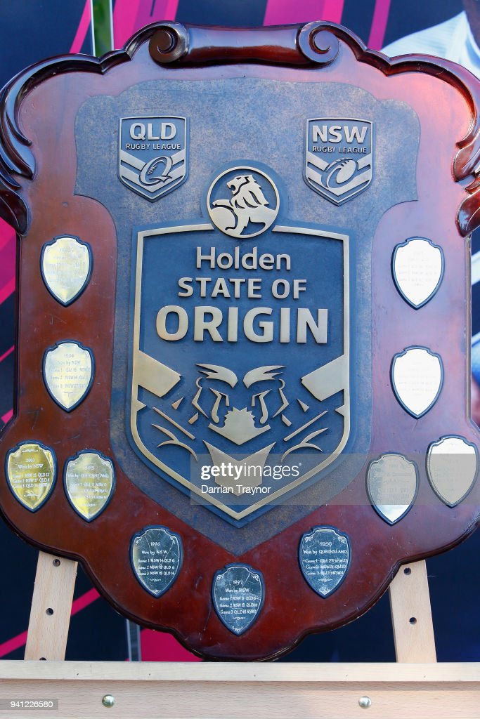 The State of Origin shield is seen during the 2018 State of Origin launch at Arbory Afloat on April 3, 2018 in Melbourne, Australia.