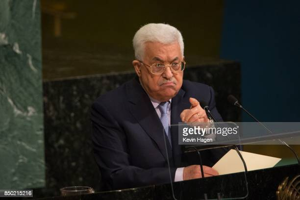 The State of Palestine's President Mahmoud Abbas speaks during the UN General Assembly at the United Nations on September 20 2017 in New York New York