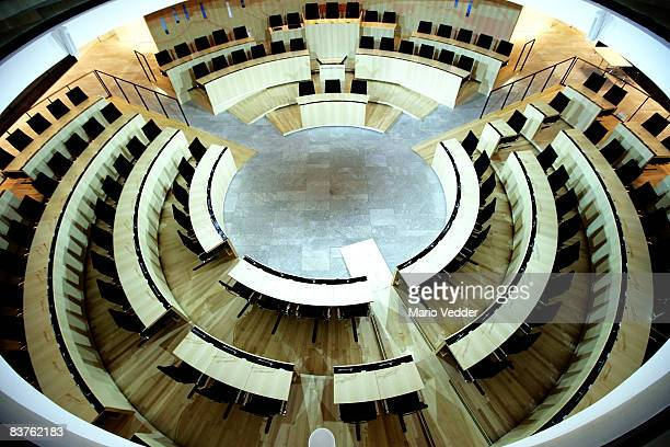 The State parliament of Hesse is empty after the members of the parliament voted to disband the parliament on November 19 2008 in Wiesbaden After...