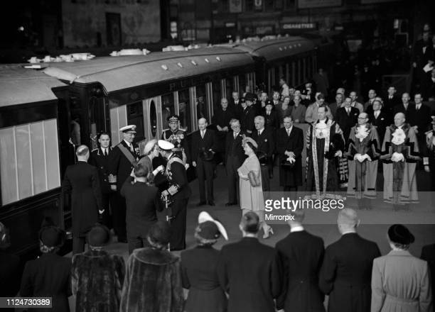 The state visit of King Frederick IX and Queen Ingrid of Denmark Pictured on their arrival they are greeted by members of the British Royal family...