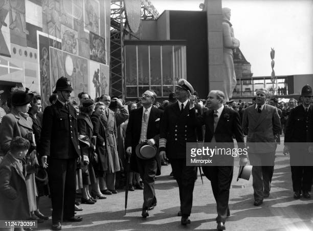 The state visit of King Frederick IX and Queen Ingrid of Denmark Pictured on their visit to the South Bank Exhibition 10th May 1951