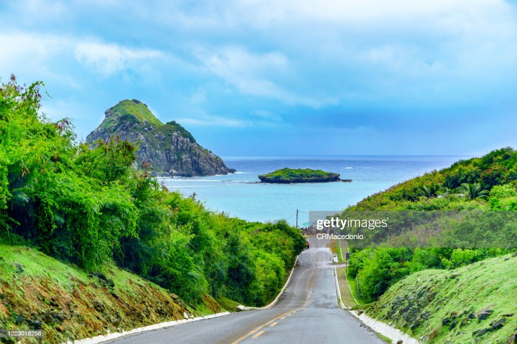 The state/federal highway crosses the main island of Noronha and ends at Sueste bay  an excellent option to contemplate marine life. : Stock Photo