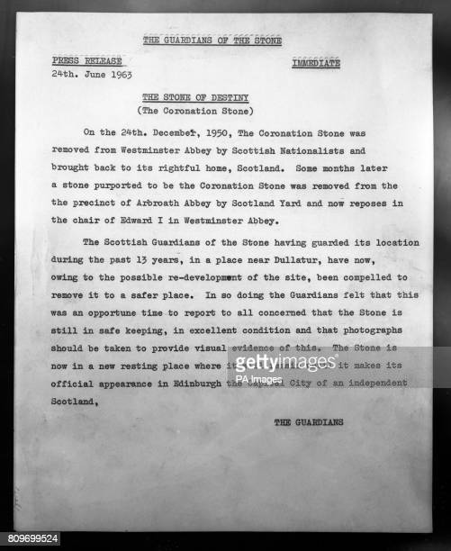 The statement signed by 'The Guardians' which was sent with a photograph of a large stone and which claimes that the Stone of Scone the Scottish...