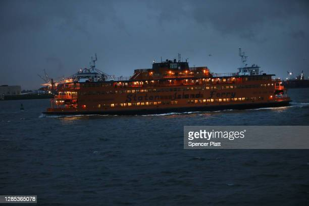 The Staten Island Ferry departs Manhattan on November 12, 2020 in New York City. The New York City borough of Staten Island's seven-day positive test...