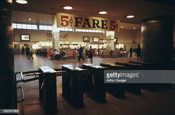 The Staten Island Ferry station in New York City, advertising a 5 cent fare, October 1969.
