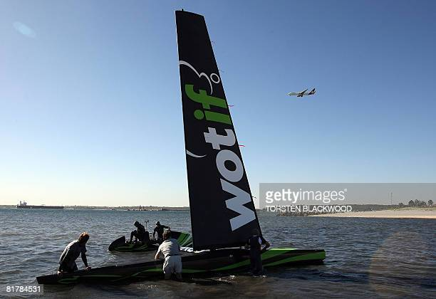The stateoftheart carbon fibre fixed wing 'WotRocket' launches in Botany Bay as gale force winds lash Sydney on July 1 2008 The blustery wind caused...