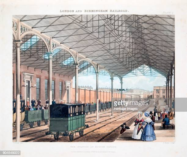 The Station at Euston Square published 1837 From Collection of 'Six Coloured Views on the London and Birmingham Railway' by Thomas Talbory Bury...