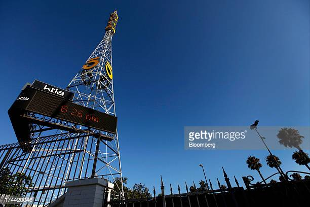 The station broadcast tower for KTLA Channel 5 TV one of Tribune Co's media outlets stands in Los Angeles California US on Tuesday July 23 2013...