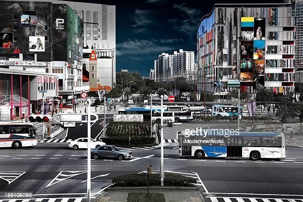 the station square rotary in japan - chiba bus ストックフォトと画像
