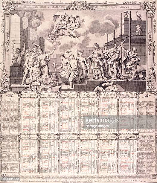 The Stationers' Almanack for 1769 c1768 Including a calendar below Above is Caius Gabriel Cibber's allegorical relief on the west side of Monument's...