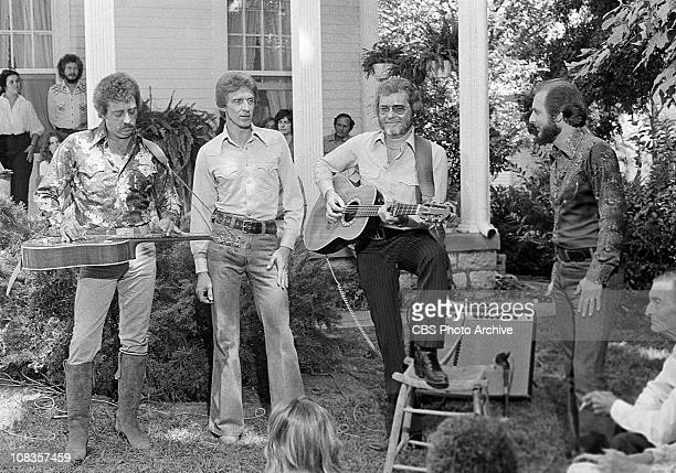 The Statler Brothers perform on The Crystal Gayle Special From left Harold Reid Phil Balsley Lew DeWitt and Don Reid The filming location is...