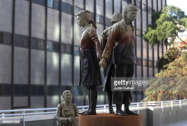 The statue Comfort Women Column of Strength by artist Steven Whyte is displayed at St Mary's Square on November 1 2017 in San Francisco California A...