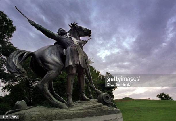 The statue depicting Confederate general Lloyd Tilghman's death during the battle of Champion Hill stands at the Vicksburg National Military Park as...