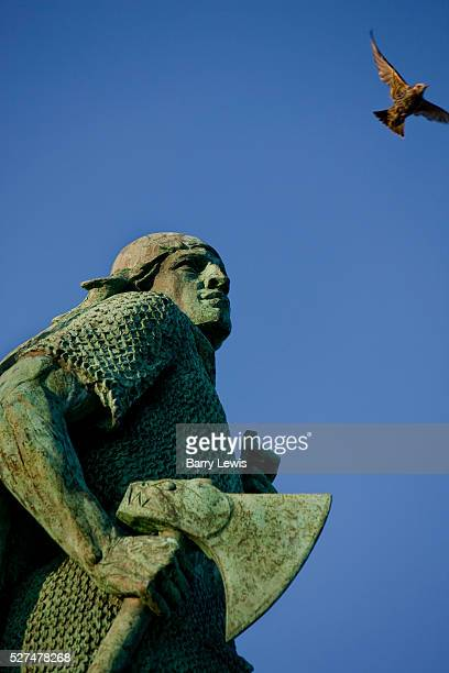 The statue in front of the Hallgrimskirkja church is of Leif Erikson an Icelandic/Norwegian explorer and the first European thought to have landed in...