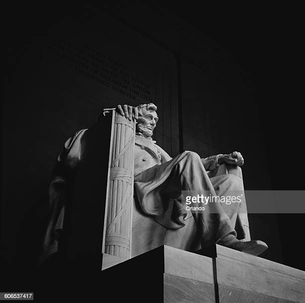 The statue of Abraham Lincoln 16th President of the United States by sculptor Daniel Chester French situated in the Lincoln Memorial Washington DC...