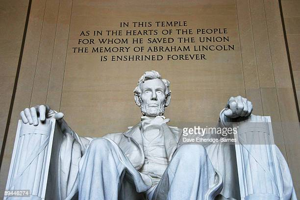 The statue of Abraham Lincoln 16th President of the United States enshrined in the Lincoln Memorial looks out toward the National Mall on June 01...