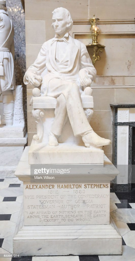 The statue of Alexander Hamilton Stephens, who was the Confederate vice president throughout the Civil War, stands inside of Statuary Hall inside the US Capitol August 17, 2017 in Washington, DC. House Minority Leader Nancy Pelosi (D-CA) has called for the removal of all Confederate statues from the United States Capitol.