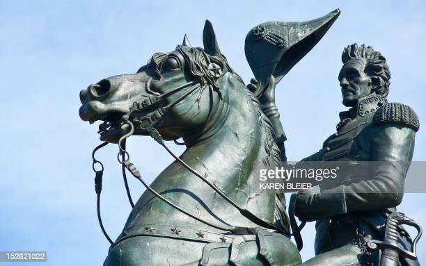The statue of Andrew Jackson is seen in Lafayette Park across from the White House is seen September 20 2012 in Washington DC This monument located...