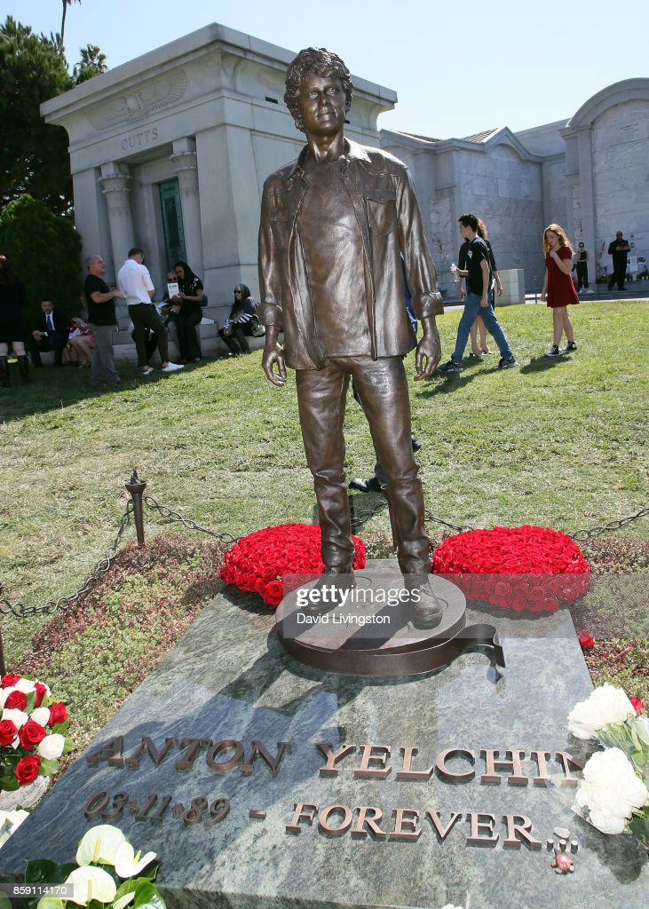 Anton Yelchin statue at the Hollywood Forever Cemetery's Garden of Legends