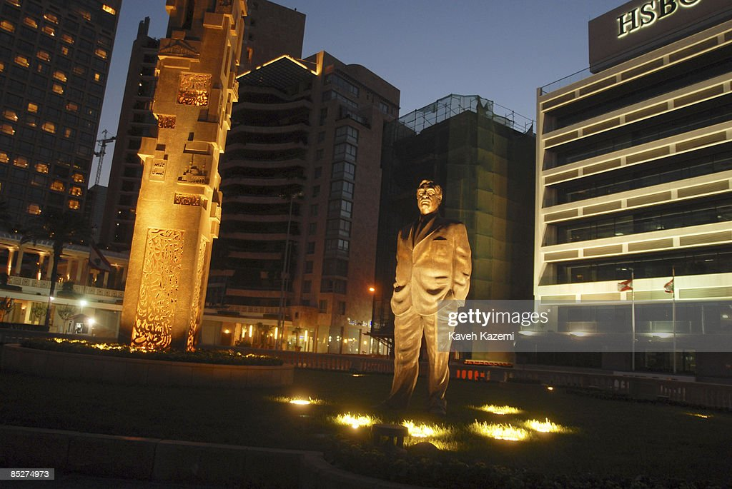The statue of assassinated prime minister of Lebanon Rafik Hariri stands erect next to the spot where explosives equivalent to around 1000 kg of TNT were detonated as his motorcade drove past the St. George Hotel in the Lebanese capital, Beirut on 02 November 2008.