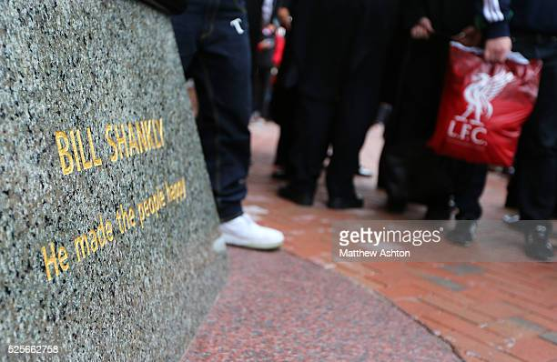 The statue of Bill Shankly regarded as one of football's greatest managers outside Anfield Stadium home of Liverpool as the club celebrate 100 years...