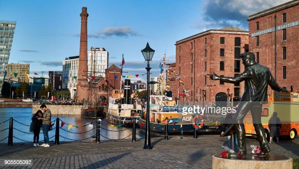 The Statue of Billy Fury By Albert Dock And The Mersey River Liverpool Merseyside England United Kingdom Europe