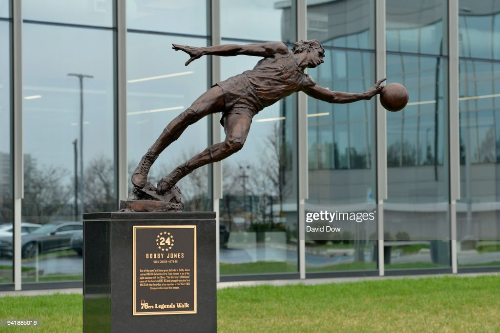 The statue of Bobby Jones of the Philadelphia 76ers on April 3, 2018 at the Legends Walk at the practice facility in Camden, New Jersey.