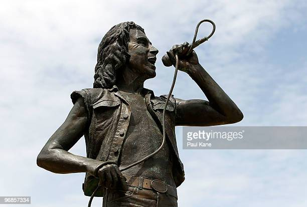 The statue of Bon Scott is seen on the 30th anniversary of AC/DC's former frontman's death at Fremantle on February 19 2010 in Perth Australia Scott...