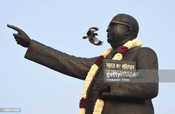 The statue of BR Ambedkar seen on the occasion of his 62nd death anniversary at Parliament House Lawns on December 6 2018 in New Delhi India Bhimrao...
