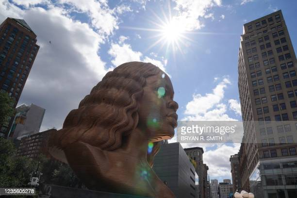 The statue of Breonna Taylor by artist Chris Carnabuci is on display during the inaugural exhibition SEEINJUSTICE on September 30, 2021 in New York....