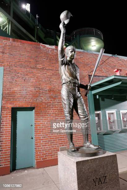 The statue of Carl Yastrzemski behind Fenway Park before the Boston Red Sox World Series Victory Parade on October 31, 2018 through the streets of...