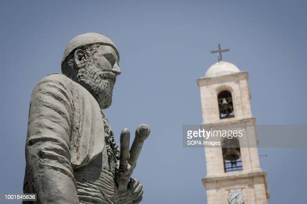 The statue of chieftain and freedom fighter Anagnostis Mantakas in the yard of Trimartiri the cathedral church at Chania Chania is a very touristic...