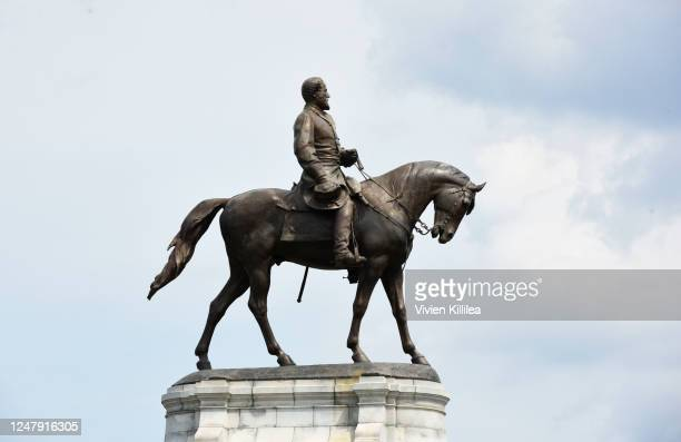 The statue of Confederate General Robert E. Lee on Monument Avenue is pictured on June 6, 2020 in Richmond, Virginia. Virginia Gov. Ralph Northam...