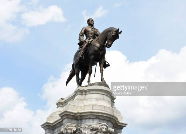 The statue of Confederate General Robert E Lee on Monument Avenue is pictured on June 6 2020 in Richmond Virginia Virginia Gov Ralph Northam...