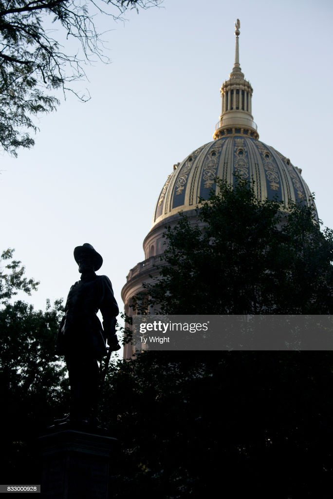 The statue of Confederate General Thomas Stonewall Jackson stands at the West Virginia State Capitol Complex on August 16, 2017 in Charleston, West Virginia. At a protest on August 13, 2017, around 200 people gathered on the State Capitol complex asking the statue be removed in light of the recent tragedy in Charlottesville, Virginia.