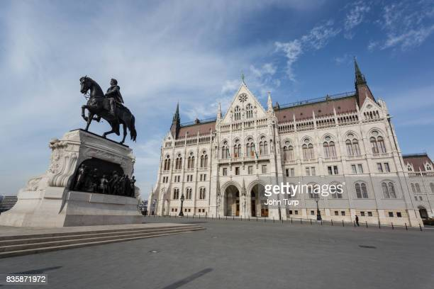 The statue of Count Gyula Andrássy outside the Hungarian Parliament in Budapest