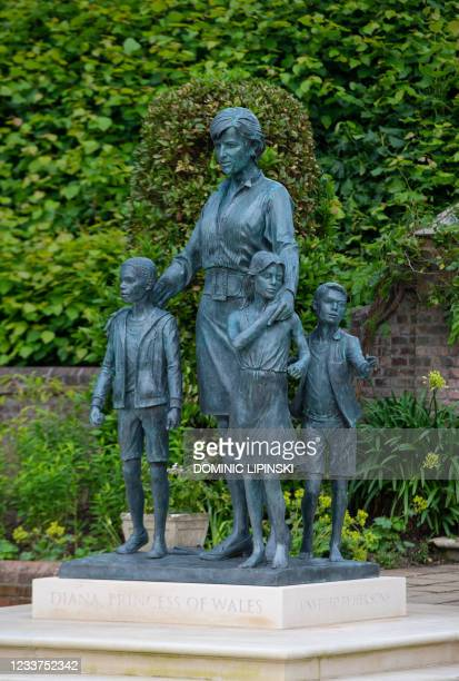 The statue of Diana, Princess of Wales, by artist Ian Rank-Broadley, unveiled by Britain's Prince William, Duke of Cambridge and Britain's Prince...